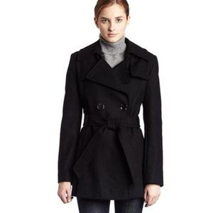 Via Spiga Black Wool Pea Coat